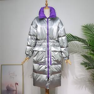 Image 4 - Ftlzz 新冬のジャケットの女性白アヒルダウンパーカー女性スタンド襟厚くコートシルバー黒雪ダウン生き抜く