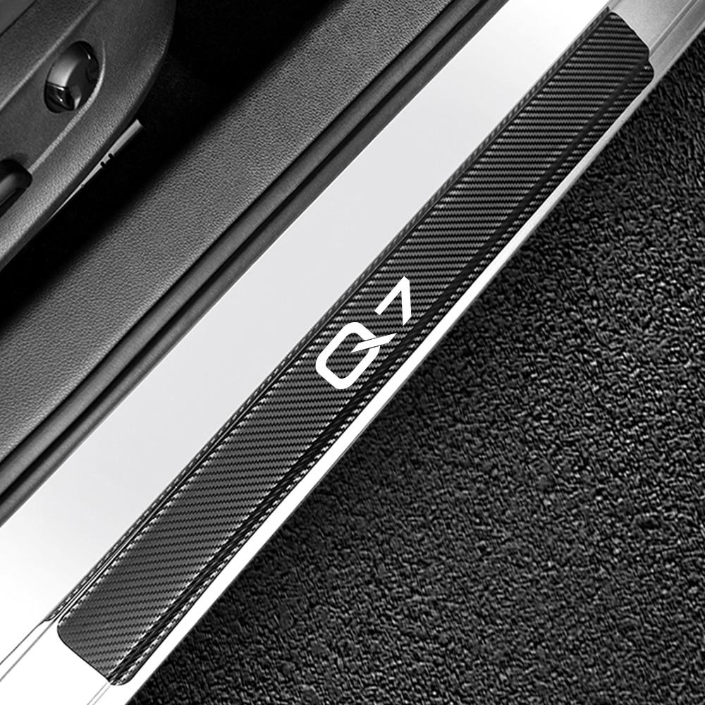 4PCS Car Door Sill Sticker For Audi Q7 Auto Door Sill Guards Threshold Decal Carbon Fiber DIY Automobile Car Tuning Accessories