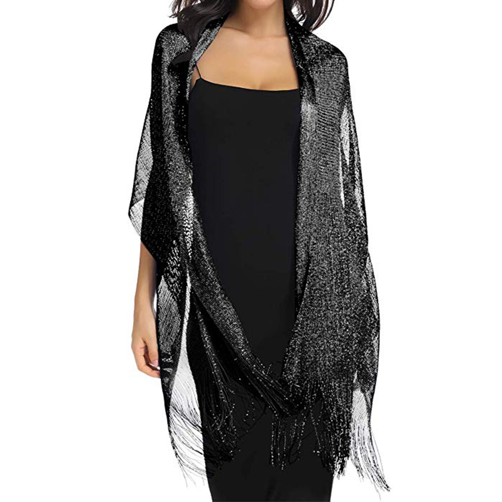 Women Spring Autumn Gift Party Metallic Shawls Lightweight Large Wraps For Evening Dresses With Tassels Sparkling Scarf Wedding