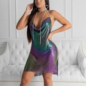 AKYZO 2018 модное цветное мини-платье-комбинация с блестками женское сексуальное платье с глубоким V-образным вырезом и открытой спиной тонкое м...