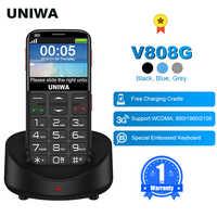 UNIWA V808G angielska rosyjska klawiatura 10 dni gotowości 3G WCDMA mocna latarka starszy przycisk telefon komórkowy duży SOS 3G mobilny starszy