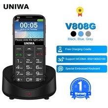 UNIWA V808G İngilizce rusça klavye 10 gün bekleme 3G WCDMA güçlü meşale üst düzey basma düğmesi cep telefonu büyük SOS 3G cep kıdemli