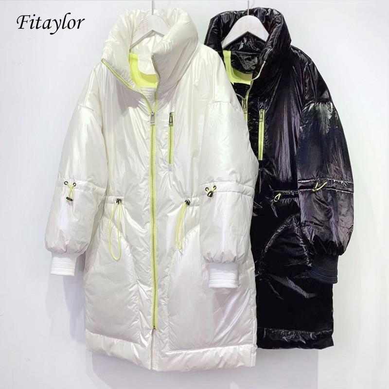 Fitaylor Winter White Duck Down Jacket Women Bright Side Long Down Coat Sash Tie Up Parkas Female Warm High Street Outwear