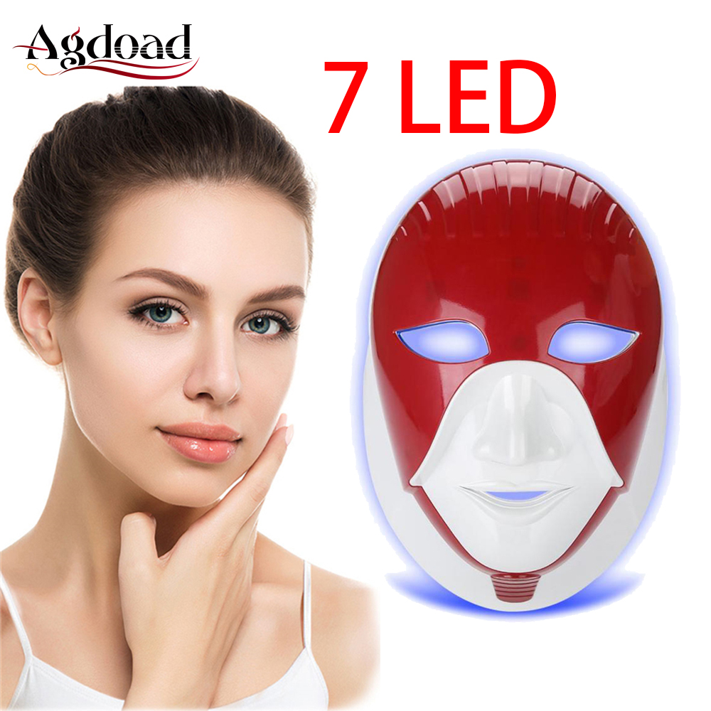 Rechargeable 7 Colors LED Mask Light Therapy Photon Skin Care Tool Face Skin Rejuvenation Whitening Beauty Device