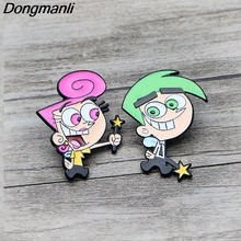 K100 The Fairly OddParents Funny Metal Enamel Pins and Brooches for Backpack/Bag Badge Denim Brooch Collar Jewelry 1pcs