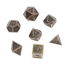 7 шт многогранные Серебристые D4, D6, D8, D10, D10, D12 и D20 металлические игральные кости для