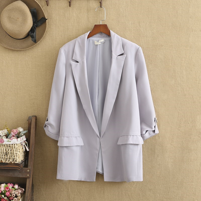 Plus Size Suits For Women Loose-Cut Large Size Lapels Long Sleeves Chiffon Thin Jacket Large Size For Fatwomen In Spring fall