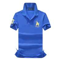 Men's Polo Shirt 100% Cotton Brand Embroidery Golf Tops Casual High Quality Solid Short Sleeve Polos EUR Size S-2XL;YA274