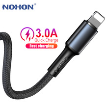 Kabel USB dla iPhone X XS Max XR 11 10 8 7 6 5 S SE 5SE 5S 6S Plus Apple iPad mini air szybka ładowarka danych 1m 2m 3m przewód telefonu komórkowego krótki długi oryginalny drut 1 2 3 m tanie tanio Nohon LIGHTNING HK (pochodzenie) NYLON USB A Złącze ze stopu Lodu porcelany złącze Z certyfikatem MFi Black Blue Red Silver