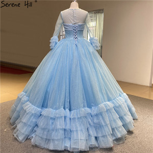 Image 2 - O Neck Blue High end Sexy Wedding Dresses 2020 Long Sleeve Ruched Tiered Bride Gowns Serene Hill DHA2316 Custom Made
