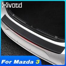 Hivotd For Mazda 3 Axela BP 2020 2021 Accessories Car Trunk Rear Bumper Guard Protector Stickers Carbon Fiber Plate Decoration