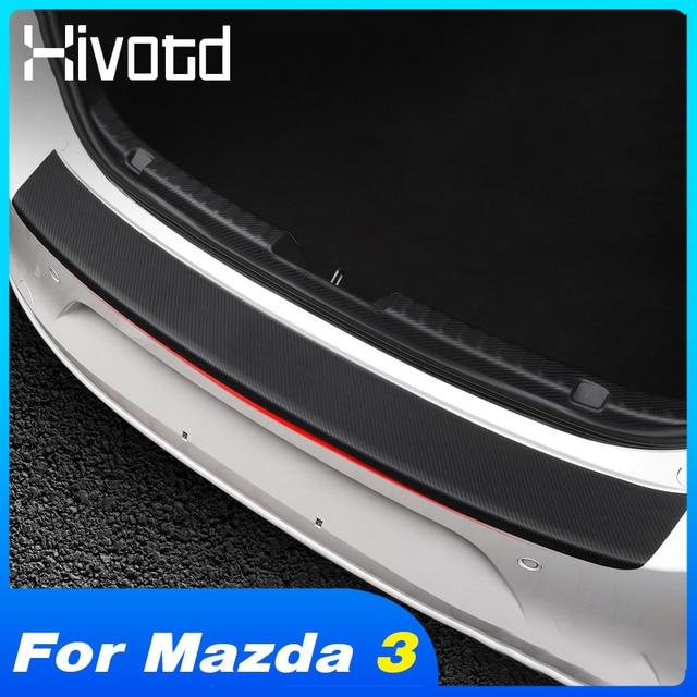 Hivotd para mazda 3 axela bp 2020 2021 acessórios do carro tronco traseiro pára choques protetor adesivos placa de fibra carbono decoração