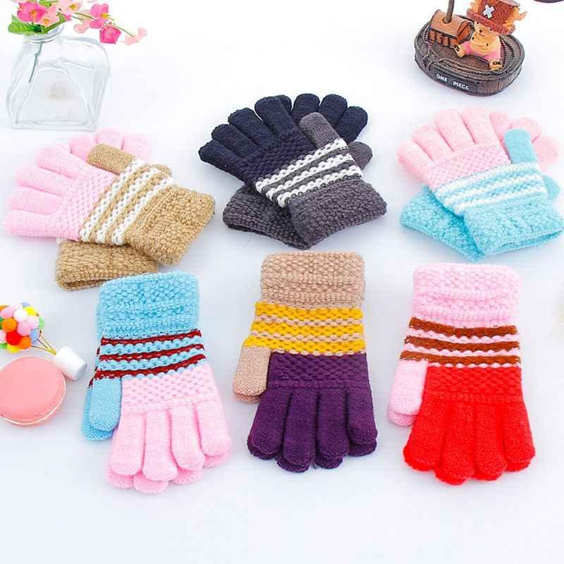 소년 소녀 다시 학교 착용 stetch 니트 장갑 키즈 펑키 멀티 컬러 따뜻한 장갑 장갑 야외 겨울 7-12 년