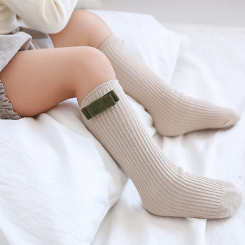 New Girls Socks Knee High Bows Cute Baby Kids Toddler Socks Long Tube Sock J