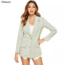 Women Blazers and Jackets 2019 Fall Long Sleeve Single Button With Pocket Notched Elegant Blue Pink Cardigan Office Lady Blazers