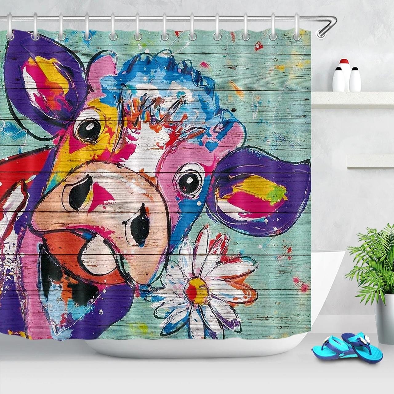 graffiti design flower cow shower curtain rustic wooden plank bathroom curtains polyester fabric bath curtains home decor