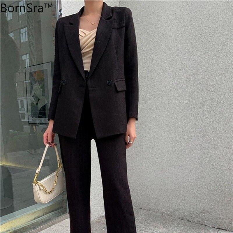 Bornsra  2020 New Summer Autumn Women Sets 2 Piece Matching Pants Casual High Waist Office Lady Striped Elegant Suit Female