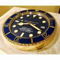 Relojes De pared dorados De lujo decoración del hogar Metal luminoso silencioso Reloj De pared 3d relojes decoración del hogar calendario reloj De Parede regalo L036|Relojes de pared| |  -