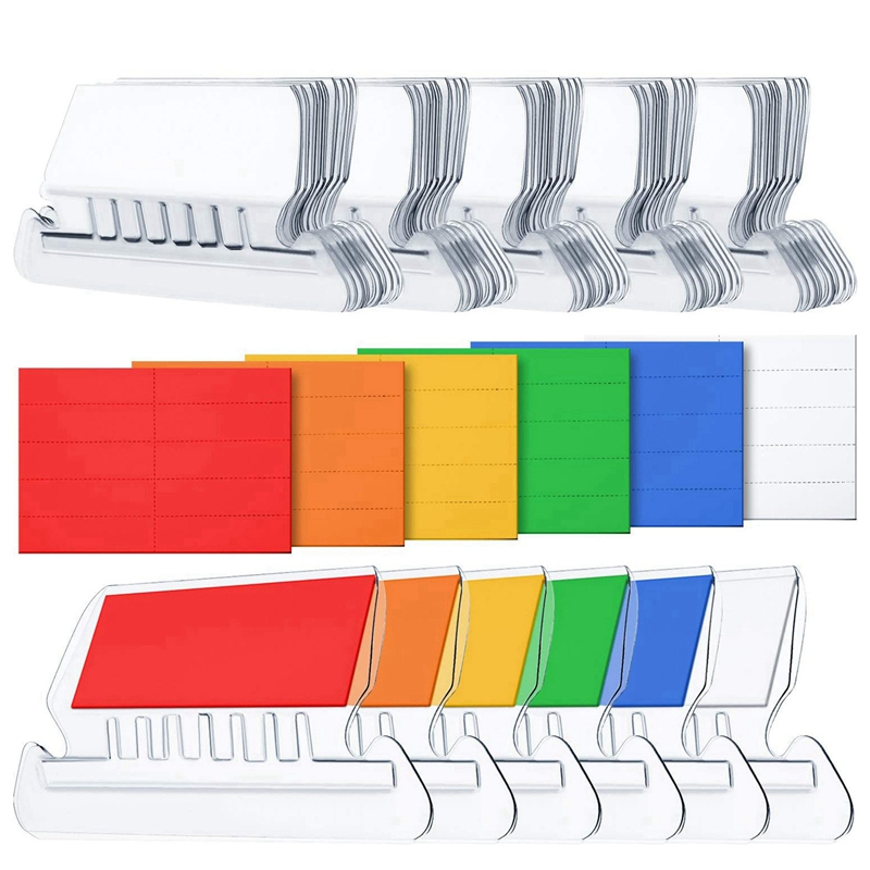 120 Sets File Document Tabs 2 Inch Hanging Folder Tabs and Multicolor Inserts for Quick Identification of Hanging Files