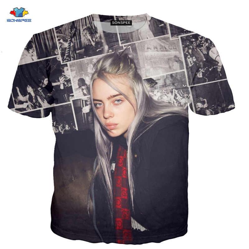 SONSPEE Retro Trendy Bellezza Billie Eilish T-Shirt 3D Espressione Divertente T-Shirt da Uomo star Cantante Musica Camicia di Estate Del Manicotto Del Bicchierino