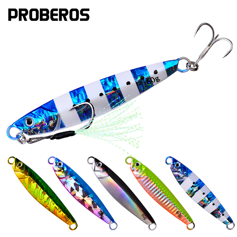 PROBEROS 1PC Metal Jig Spoon Lure 24g-30g-40g-60g Artificial Bait Slow Jigging Hard Bass Fishing Lure Pesca Isca Tackle