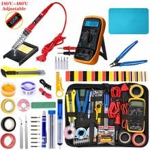Kit de pistola para soldar de temperatura ajustable, 220V, 80W, LCD, herramientas de soldadura, ESD, aislamiento térmico, estera de trabajo, Kits de herramientas de soldadura