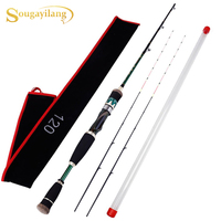 Sougayilang 1.2m Carbon Fiber Fishing Rod with Portable 2 Titanium Alloy Tips Soft Raft Rod Boat Fishing Rod Casting Rod