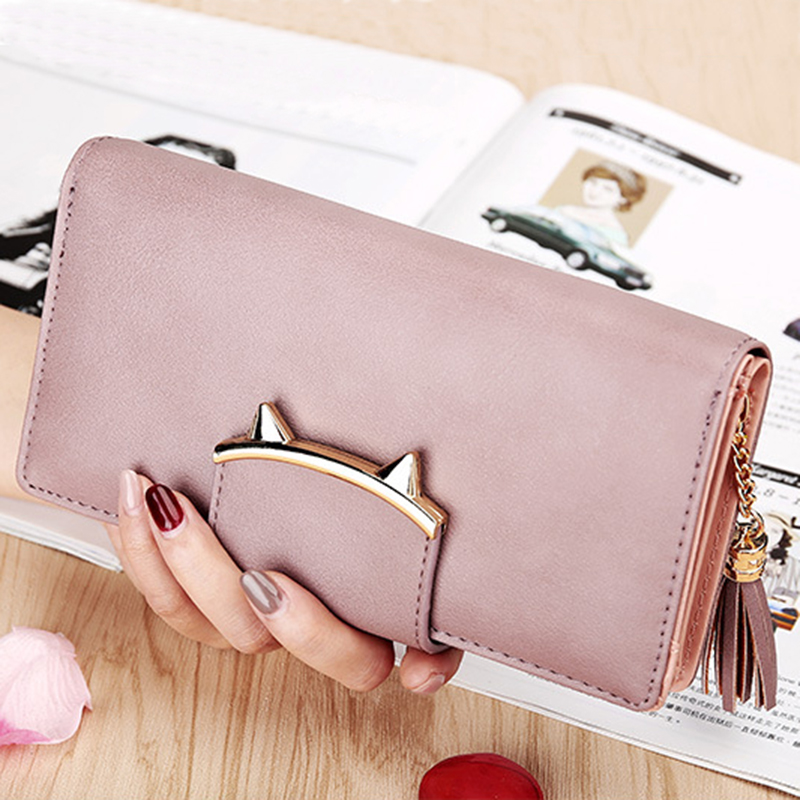 Long Leather Cat Womens Wallet Female Purse Money Bags Tassel Ladies Slim Wallet Women Purses Card Holder Women Wallets Clutch