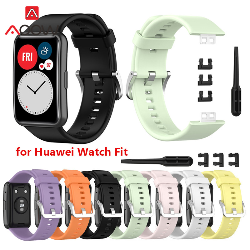 Silicone Sport Strap for Huawei Watch Fit Fitness Smart Watch Tool Screen Protector Case Replacement Wrist Band Bracelet correa
