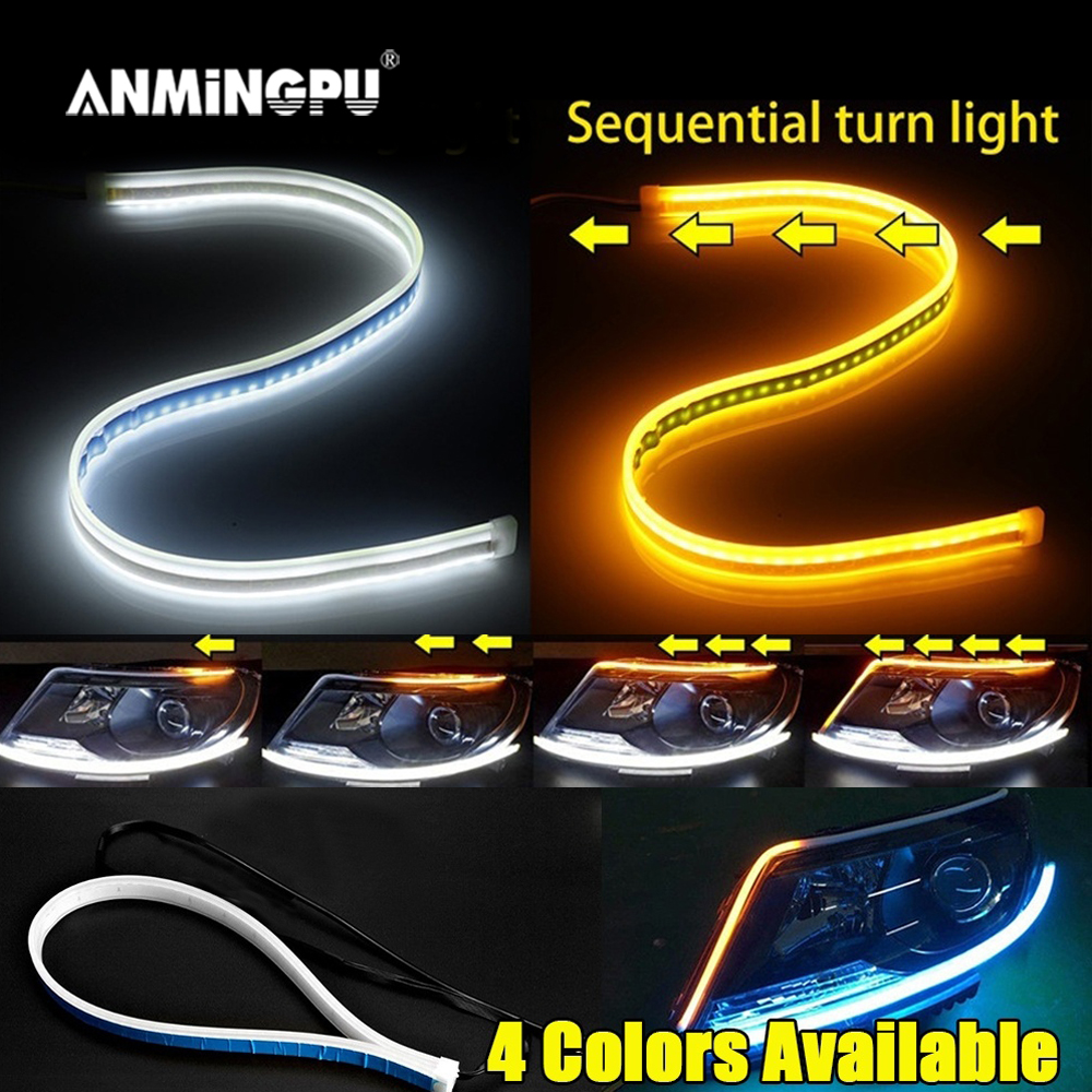 ANMINGPU 1pair Sequential DRL LED Strip Turn Signal Light Yellow Bright Flexible Drl Led Daytime Running Light for Car Headlight