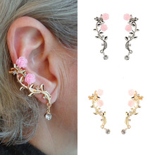 Elegant Flower Rhinestone Ear Cuff Earrings For Women Gold Color Ear Stud Clip Earring Fashion Jewelry stylish rhinestone skull stud earring