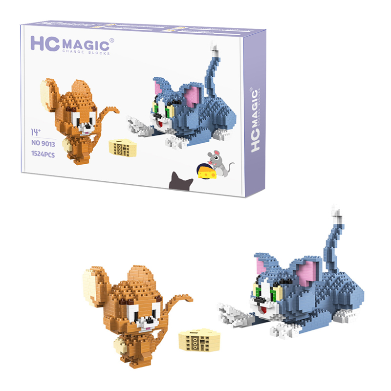 1524pcs Classic Cartoon Anime Diamond Building Blocks Cat Mouse Tom Model  Jerry Mini Micro Bricks Toys For Gift