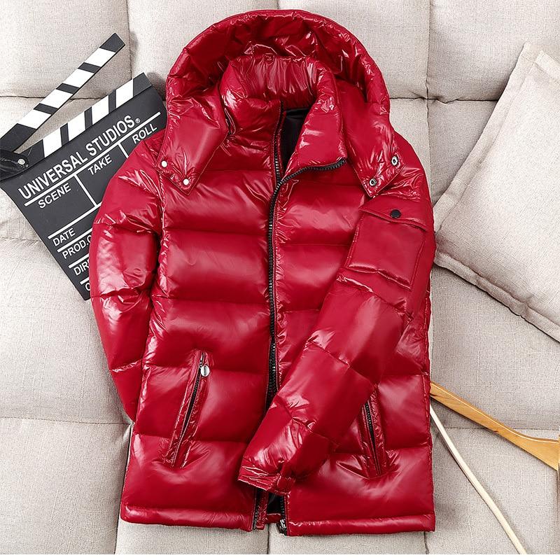 -30 Degree Winter Down Parkas Men Waterproof White Duck Down Jacket Shiny Hooded Windbreaker Men Outwear Thick Warm Down Coat