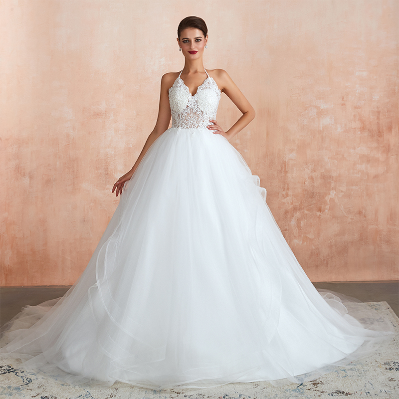 White Ivory Halter Neck Vestido De Noiva 2019 Sexy A Line Sheer Lace Wedding Dress Tulle Skirt Bride Dress Backless Bridal Gowns