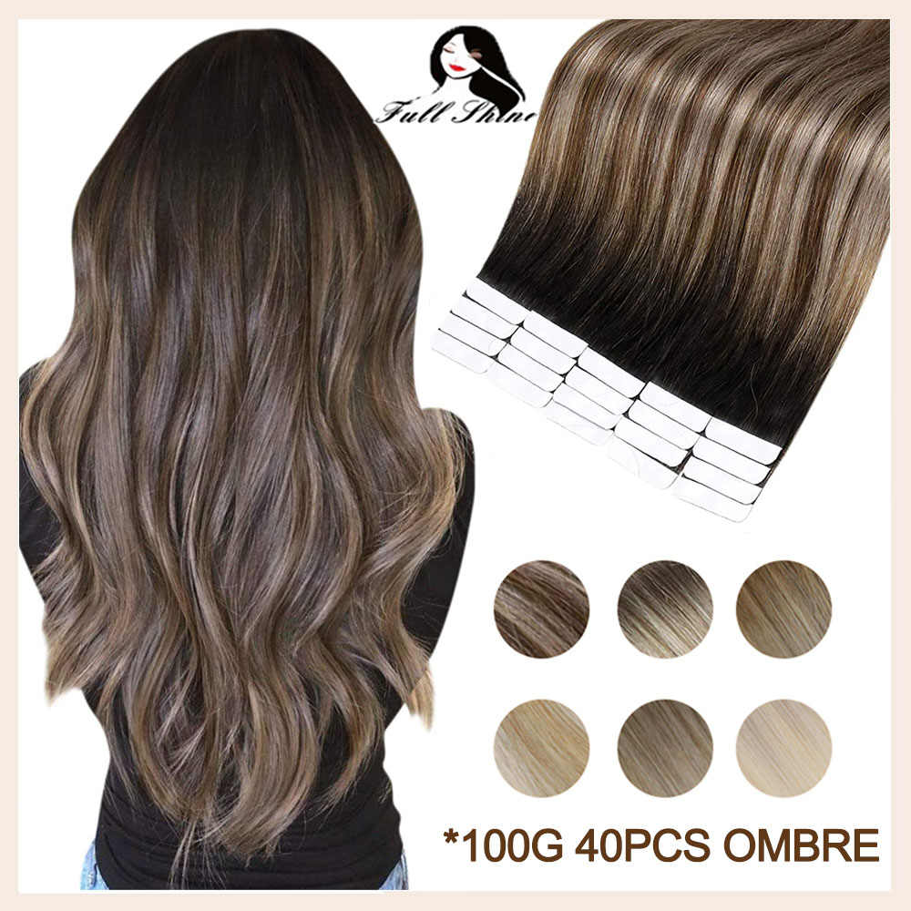 Full Shine Real Hair Tape in Extensions 100% Remy Human Hair Ombre 40pcs 100g Balayage Seamless Blonde  Glue On Hair For Woman