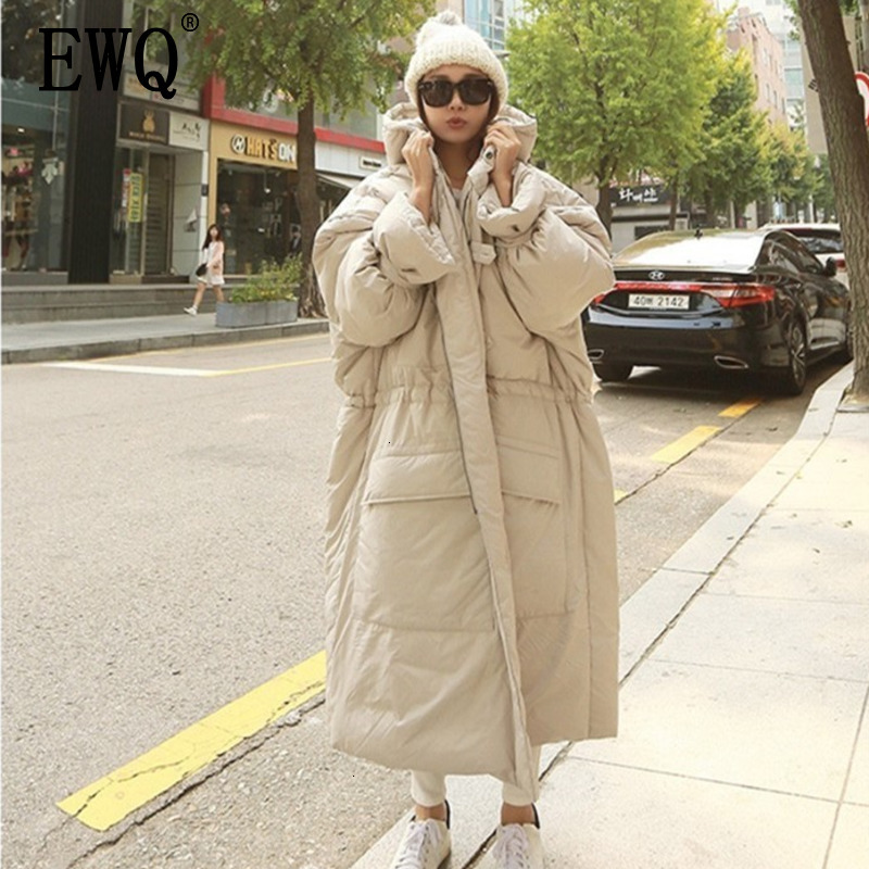 [EWQ] 2020 Fashion Hooded Oversize Doulble Pockets Winter Jacket 2020 Female's Long Sleeve Zipper Cotton-padded Coat AH53012L