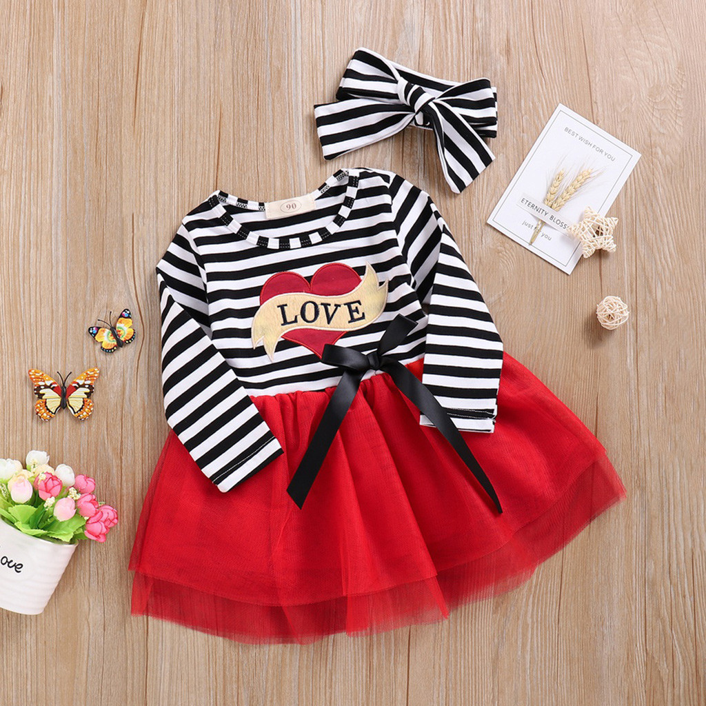 Toddler Baby Girls Valentines Day Outfits Red Love Dress Trumpet Sleeve Tutu Skirt Winter Clothes