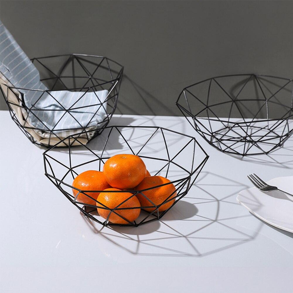 Cesta de frutas Simple cuenco contenedor de alambre de metal cesta de drenaje estante de cocina soporte de almacenamiento de verduras de frutas bandeja de aperitivos cuenco de almacenamiento