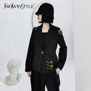 TWOTWINSTYLE Patchwork Hollow Out Pin Blazer For Women Notched Long Sleeve Casual Black Blazer Female 2020 Fashion New Clothing twotwinstyle korean hollow out sweatshirt for women o neck long sleeve casual black sweatshirts female 2020 fall fashion new