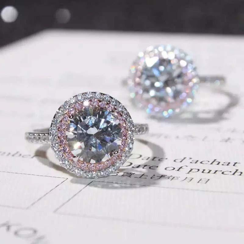 S925 Sterling Silver VS2 Diamond Ring For Women Anillos Stamp 925 SilverBizuteria Topaz Gemstone Wedding Silver 925 Jewelry Ring