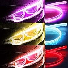 2 stücke LED DRL Auto Tagfahrlicht Drehen Licht Vollständig Versiegelte Design Staubdicht Wasserdicht 5 Farben 30/45/60cm Augenbraue Lampe