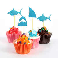 24pcs shark simulation cake card gold powder card partydessert table decoration for birthday