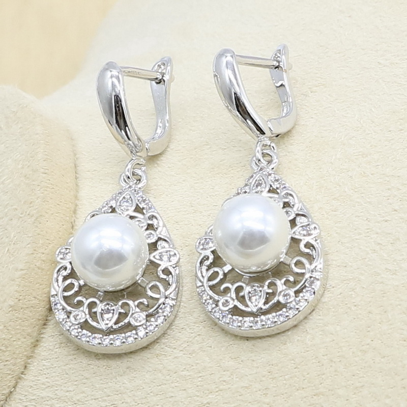 Natural White Pearl Silver Color Jewelry Set for Women Zircon Bracelet Earring Necklace Pendant Ring Wedding Birthday Gift