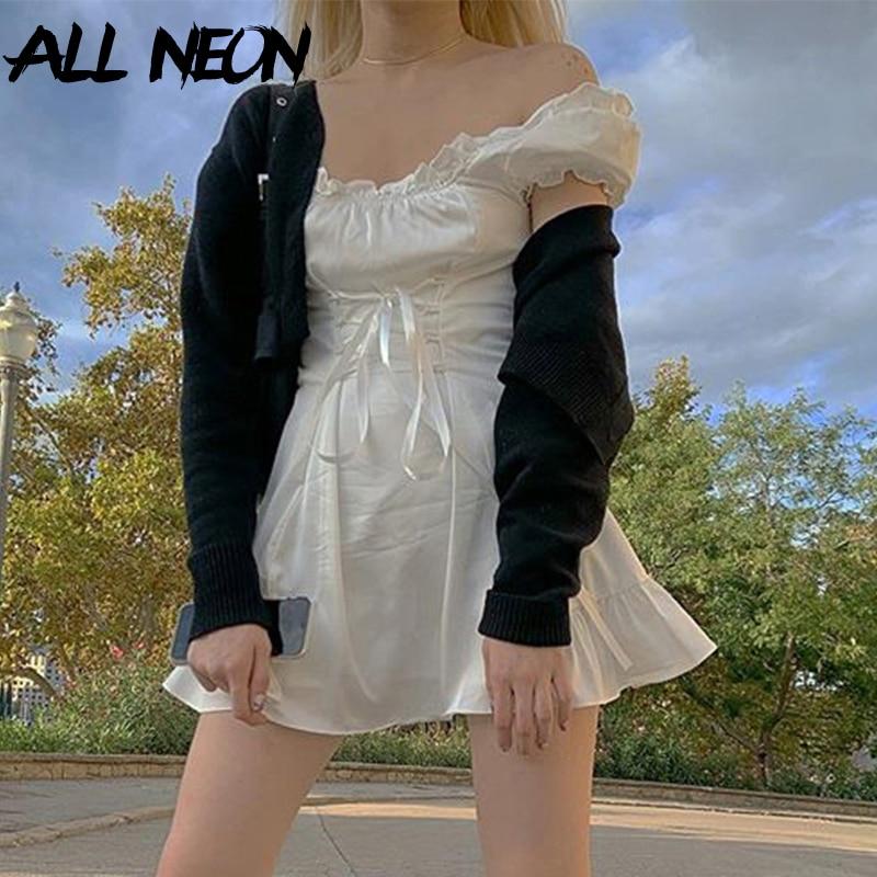 ALLNeon E Girl Sweet Off Shoulder Lace Up Waist White Dresses Fashion Y2K Solid Puff Sleeve Ruffle Hem A-line Mini Dress Summer