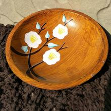 Durable  Mediterranean Style Hand Painted Round Wooden Fruits Serving Tray Plate Dish