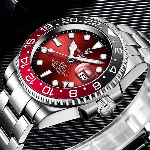LIGE DESIGN Men GMT Automatic Mechanical Watch Ceramic Bezel 316L Stainless Steel 100ATM Waterproof Clock Sapphire Glass Watches 4