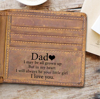 Genuine Leather Wallet for Men Personalized Gift for Father Dad Custom Engarved Gifts from Daughter or Son Daddy BirthdayGifts