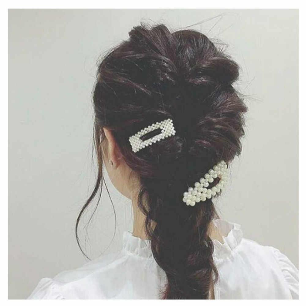 2020 de las mujeres de la moda llenos de perlas pelo Clips Snap Barrette palo horquillas herramientas para peinar el cabello accesorios para el cabello de Hairgrip Regalo 1 Uds
