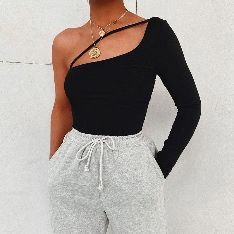 One Shoulder Bodysuit Women Stap Long Sleeve Skinny Bodysuit 2020 Ladies Black Casual Bodysuit Summer Overalls