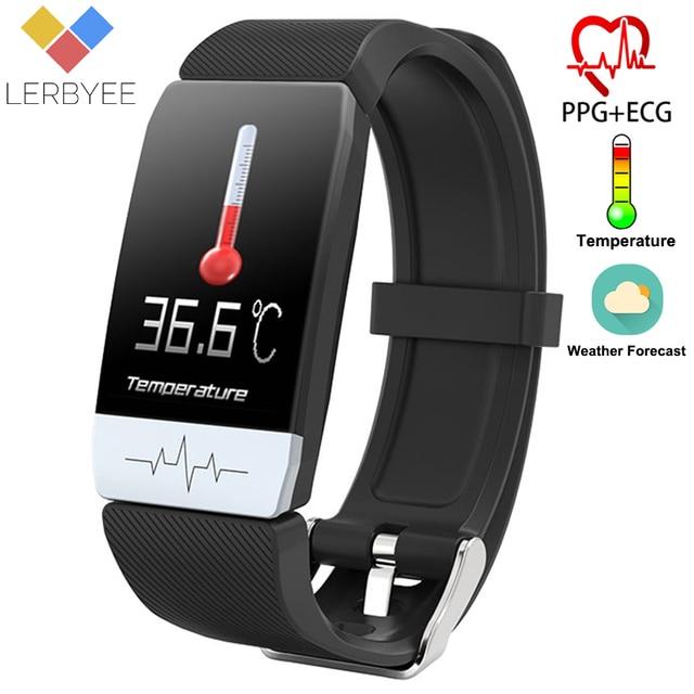 Lerbyee T1 جهاز تعقب للياقة البدنية الجسم درجة الحرارة ECG سوار ذكي مراقب معدل ضربات القلب ساعة ذكية تحكم بالموسيقى الرياضة 2020 الرجال النساء